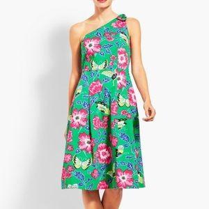 NWOT Talbots 1 shoulder green floral dress, Sz 18W